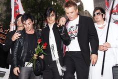 Tomo Milicevic, Shannon Leto, Jared Leto and Matt Wachter of 30 Seconds To Mars arrive at the MTV Video Music Awards on Aug. 31, 2006, in New York City.