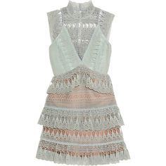 Self-Portrait Tiered guipure lace mini dress ($385) ❤ liked on Polyvore featuring dresses, vestidos, green, garden party dress, green dress, mini dress, tiered lace dress and scalloped lace dress