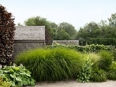 A seven-foot-tall maiden grass (Miscanthus sinensis 'Gracillimus'), along with several smaller stands of dwarf fountain grass (Pennisetum alopecuroides 'Hameln'), creates a sense of enclosure that has a fluid, almost musical effect.    Read more: Garden Design - Landscaping Ideas - Country Living