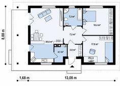 Проект дома :: Z55. Небольшой и уютный одноэтажный дом с верандой и двумя спальнями. :: Строительная компания Ультра Эс