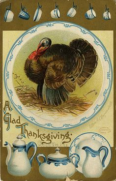 A glad Thanksgiving wish to you! vintage Thanksgiving card