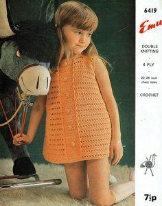 PDF  Vintage Baby Girl Dress Crochet Pattern Summer 1970s Emu Crochet For Kids, Crochet Baby, Crochet Top, Sweater Knitting Patterns, Crochet Patterns, Baby Girl Fashion, Kids Fashion, Crochet Dress Girl, Sixties Fashion