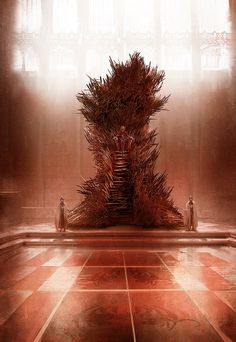 A painting of the Iron Throne as described in the books - very different from the show. By artist Marc Simonetti