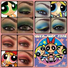 The Power-Puff Girls Totally going to do this! Girl Halloween Makeup, Halloween Costumes For 3, Halloween 2017, Holidays Halloween, Girl Costumes, Halloween Party, Powder Puff Girls Costume, Power Puff Costume, Powerpuff Girls Makeup