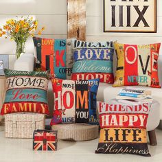 "Nueva llegada Home sofá cojín decorativo Throw fundas 18 "" Vintage algodón lino Square almohada AU61"