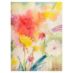 """Bring gallery-worthy appeal to your walls with this beautiful canvas print, showcasing a watercolor-inspired motif.   Product: Canvas giclee printConstruction Material: Giclee and woodFeatures: Designed by Sheila GoldenDimensions: 47"""" H x 35"""" W x 2"""" D"""