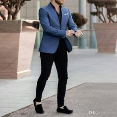 Black and Blue Business Suits Terno Masculino Men Suits for Wedding Prom Party Oversize Attire Men Wear Costume Homme Man Outfit Suits Outfits, Blazer Outfits Men, Mens Fashion Blazer, Suit Fashion, Trendy Mens Fashion, Mens Blazer Styles, Men's Formal Fashion, Blue Blazer Outfit Men, Latest Fashion