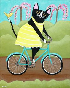 Cute Cat on Bicycle