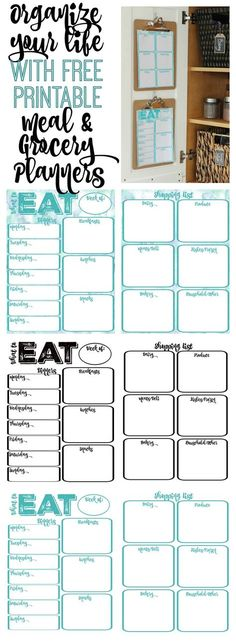 Pantry Makeover: Free Printable Weekly Meal Planner and Shopping List Planner Organize Your Life and make your week go smoother with these free printable meal and grocery planners at Planning Budget, Meal Planning, Printable Planner, Free Printables, Recipe Printables, Printable Worksheets, Party Printables, Diy Spring, Home Management Binder