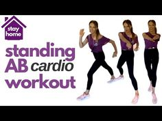 Home Workout - Stay at home and do this standing ab cardio workout with short burst of Hiit cardio. This quarantine workout will also help to keep you. Standing Ab Exercises, Standing Abs, Effective Ab Workouts, Toning Workouts, Fitness Workouts, Ab Workout At Home, At Home Workouts, Lucy Wyndham, Low Impact Hiit