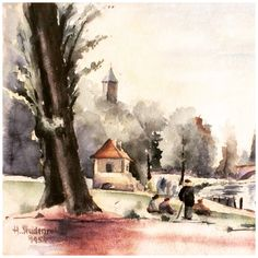 Halle, Germany, 1954, watercolour by Hans Studenroth