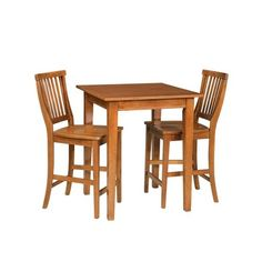 Home Styles 3 Piece Bistro Square Table with 2 Stools - Natural