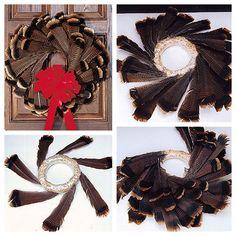 Turkey feather wreath. 50 more fall wreath ideas here.