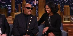 Stevie Wonder Serenades Michelle Obama on the Tonight Show  - HarpersBAZAAR.com