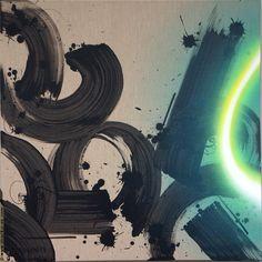 .@marko93darkvapor   #toile #canvas #graffiti #streetart #marko93 #light #calligraphie #green #bla...   Webstagram