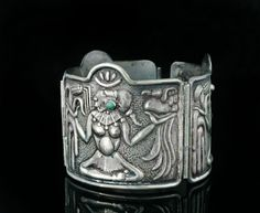 wide Mexican Deco silver turquoise Bracelet repousse fertility goddess sterling #Unbranded #signed