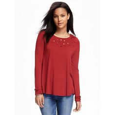 Old Navy Womens Swing Cutwork Top (30 CAD) ❤ liked on Polyvore featuring tops, red spice, relaxed fit tops, red top, round top, long sleeve jersey top and old navy