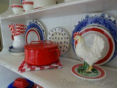 Brookhollow Lane: Make Room for Red! Turquoise Cottage, Yellow Cottage, Red And Grey, Red White Blue, Farmhouse Quilts, Little Red Hen, Duck Egg Blue, Happy Colors, Cottage Style
