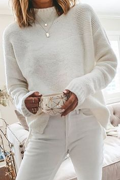 White, Short-High Collar Plain Casual Sweater - This beautiful all-white knit is the perfection addition to any holiday occasion. Available in multiple sizes now! Source by ramonateupert - Mode Outfits, Fall Outfits, Casual Outfits, Fashion Outfits, Workwear Fashion, Fashion Blogs, Cute Fashion, Look Fashion, Fashion 2020