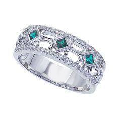 Emerald Diamond Open Band