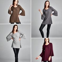 T16353 Loose fit three-quarter length bell sleeves round neck tunic top. This tunic top is made with medium weight brushed two-toned ribbed knit fabric that has a very soft fuzzy texture drapes well and is very warm. This fabric has good stretch.  #cherishusa #cherishapparel #shopcherish #fallfashion #fashionbuyer #boutique #fashion #fashiondiaries #instafashion #instastyle #fashionstyle #ootd #fashionable #fashiongram #fallstyle #clothingbrand #fall2015 #fallfashion #top #tunic #bellsleeves…