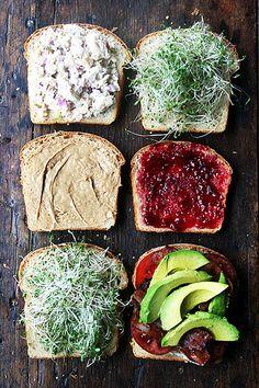 Simple sandwiches on super soft sandwich bread: bacon, avocado, sprouts; tuna salad; pb and j.