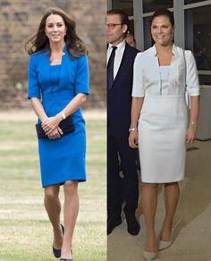 royalroaster:  LK Bennet dress-Duchess of Cambridge in blue, 2014; Crown Princess Victoria in white, 2015