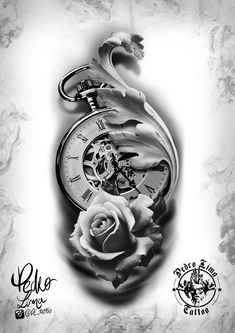 Black and White Tattoo Clock and Flowers Designs- Tattoagem preto e branco Relógio e flores desenhos Black and White Tattoo Clock and Flowers Designs - Hand Tattoos, Forarm Tattoos, Tatuajes Tattoos, Rose Tattoos, Flower Tattoos, Body Art Tattoos, Sleeve Tattoos, Clock Tattoo Design, Compass Tattoo Design
