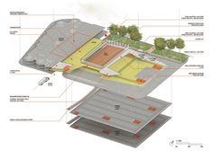 Nivel bajo: parqueo, zonas de servicio y espacio de exposiciones.