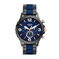Fossil Nate Watch in navy blue , available at #savoysjewellers