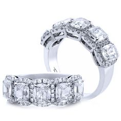 5 Stone Halo Henri Daussi Cushion Cut Diamond Wedding Band in 14KT White Gold for only $4,695.00