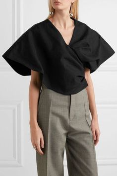 Absolutely obsesed with this boxy Jacquemus top. | Cotton and linen-blend wrap-effect top | NET-A-PORTER.COM