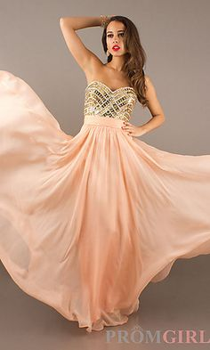Beaded Strapless Gown at PromGirl.com