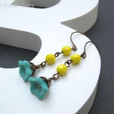 Summer sun earrings colourful jewellery Czech beads by BeadyDaze, £8.50