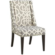 Pier 1 Imports Owen Wingback Dining Chair ($250) ❤ liked on Polyvore featuring home, furniture, chairs, dining chairs, home decor, wingback armchair, wing chair, nailhead trim dining chair, wing back chair and gray wingback chair