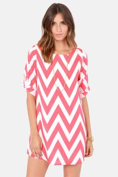 Coral Pink Chevron Dress at LuLus.com!