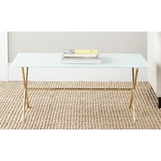 Safavieh Treasures Brogen Gold/ White Top Accent  Sale $166.49 faux bamboo gold coffee table