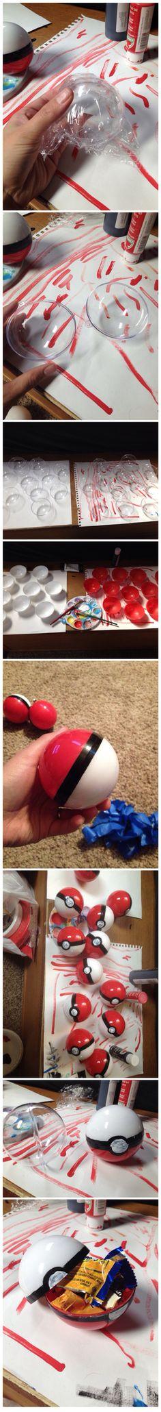 Pokemon themed party; diy pokeballs!!