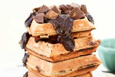 """Reeses Peanut Butter Chocolate Waffles.... can we say, """"Whoa!"""" Dad's going to be giving out kisses when he bites into these puppies!!!"""