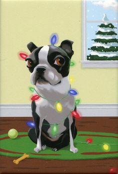 Boston Terrier Christmas Dog Art Magnet. via Etsy.