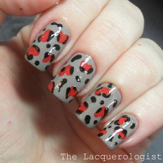 The Lacquerologist: Heart Leopard Print Design for VDay!