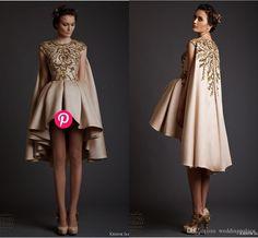 Krikor Jabotian 2015 Dubai Evening Dresses Scoop Arabic Dresses Mini Short Beaded Sequin With Shawl Fashion Satin Evening Dresses from Weddingpalace,$113.09   DHgate.com