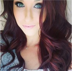 """"""" Burgundy hair represents red, brown or dark locks with violet shades.Try burgundy color or burgundy hair color with highlights.If you want a different and original look, check out the red burgundy. Love Hair, Great Hair, Gorgeous Hair, Beautiful Eyes, Amazing Hair, It's Amazing, Gorgeous Makeup, Pretty Makeup, Hair Color And Cut"""