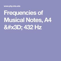 Frequencies of Musical Notes, A4 = 432 Hz