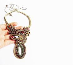 Soutache jewelry.Soutache necklace.OOAK.Handmade by beadsbyPanka, Ft34000.00