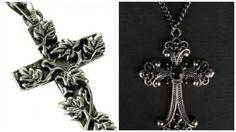 """Inserendo il codice coupon gothbijoux fino al 30/04 lo potete acquistare con il 20% di sconto fino ad esaurimento scorte!!! www.gothlab.com - Your gothic desire! Gothic Black Cross pendant on a chain and Pendente """"Floreal Cross"""" #gotico #gothic #goth #pendenti #chain #neckless #style #wicca #witch #strega #vampire #power #pell #demon #incantesimi #magic #magia #old #florea #black #dark #cross #croce #collane"""