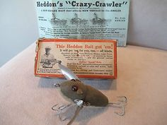 Rare Heddon Crazy Crawler GM with Box Intro Papers Tackle Fishing Lure Vtg Dowagiac Michigan, Vintage Fishing Lures, Fly Rods, The Past, Baseball Cards, Cool Stuff, Antiques, Paper, Box