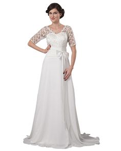 lindadress.com Offers High Quality Ivory A Line Lace Bodice Chiffon Beach Wedding Dress With Half Sleeves,Priced At Only USD USD $130.00 (Free Shipping)