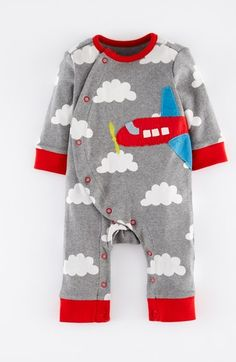 perfect for his first flight to florida!  Mini Boden Appliqué Romper (Baby Boys) | Nordstrom