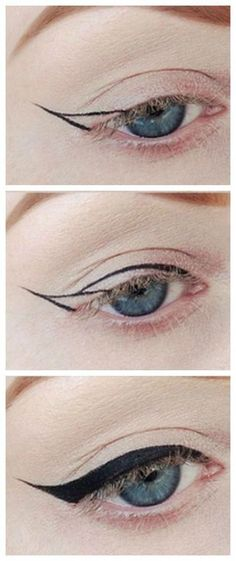 47 Ideas for eye makeup eyeliner liquid liner make up Perfect Winged Eyeliner, Winged Eyeliner Tutorial, How To Apply Eyeliner, Winged Liner, Eye Liner, Easy Eyeliner, Simple Eyeliner Tutorial, Pin Up Eyeliner, Everyday Eyeliner